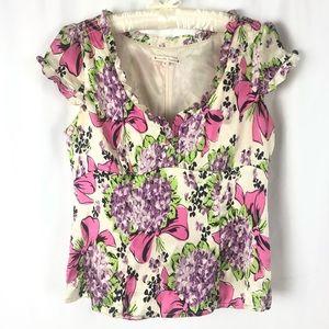 Nanette Lepore 100% Silk Short Sleeve Blouse 10